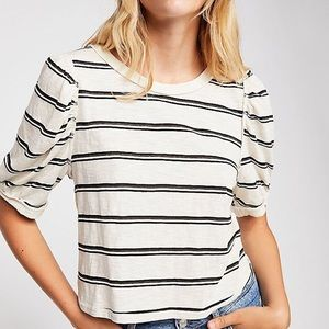 Free People Molly Striped Puff Sleveve Tee Shirt